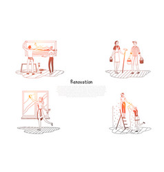 Renovation - people cleaning and decorating their vector