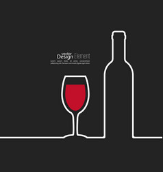 Ribbon in the form of wine bottle and glass with vector image