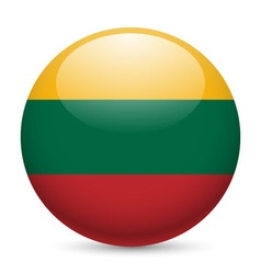 Round glossy icon of lithuania vector