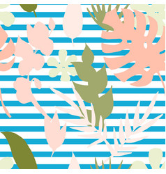 Seamless pattern with silhouette tropical vector