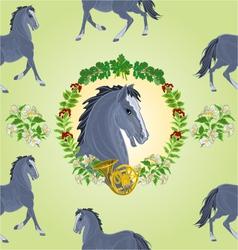 Seamless texture black Horse head of stallion vector