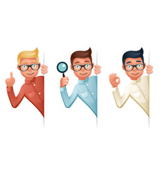 search help looking out corner cartoon businessman vector image