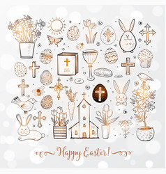 Set of easter doodles on white glowing background vector