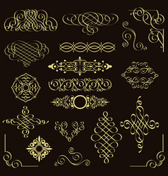 set of golden vintage design elements vector image