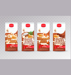 set of milk carton packs with different tastes vector image