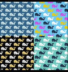 set whale seamless patterns vector image