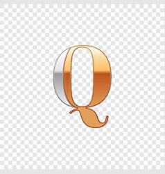 silver and gold font symbol alphabet letter q vector image