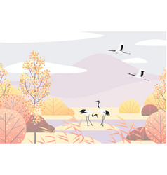 Simple autumn lanscape with red-crowned cranes vector