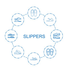 Slippers icons vector