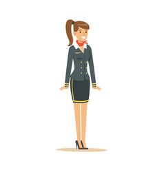 Smiling stewardess in blue uniform flight vector