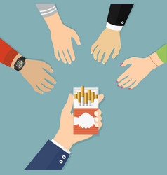 smoke break flat design concept people hands are vector image