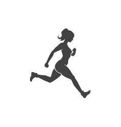 sports woman engaged in jogging fitness vector image