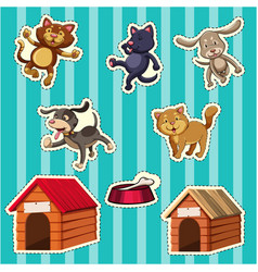 sticker design for dogs and cats vector image