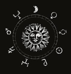 Sun surrounded planes symbols vector