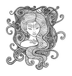 Surrealistic woman shaman coloring page vector
