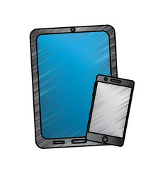 tablet and cellphone with reflective screen device vector image vector image