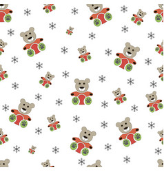 teddy bear seamless and winter seamless snowflake vector image