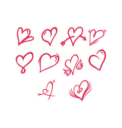 thin line heart icon set vector image