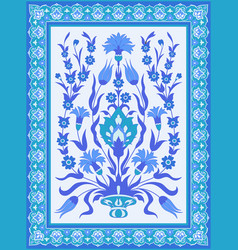 traditional oriental floral design in blue and vector image