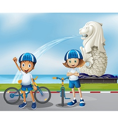 Two cute bikers standing in the front of the vector image