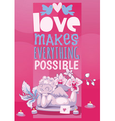 Valentine day poster angel statue vector