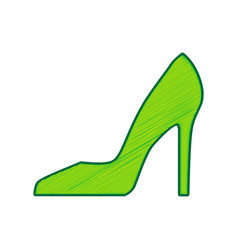 woman shoe sign lemon scribble icon on vector image