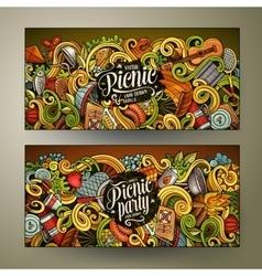 Cartoon picnic doodle vertical banners vector