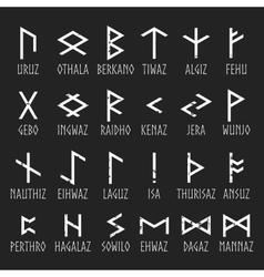 Set of Elder Futhark runes with names vector image