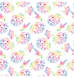 blossoming peony with leafs seamless pattern vector image