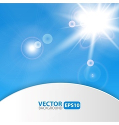 Blue abstract background with sunburst flare vector image