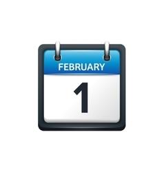 February 1 Calendar icon flat vector image vector image