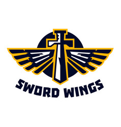 logo sword wings steel arms the emblem on the vector image