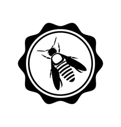 Bee icon or silhouette logotype isolated vector image
