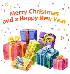 Card with Christmas and New Year Collection of vector image vector image