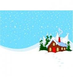 little house in snowy hills vector image vector image