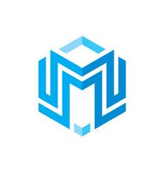 m letter logo template concept vector image
