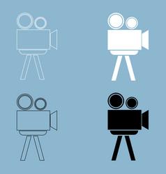 cinematograph the black and white color icon vector image