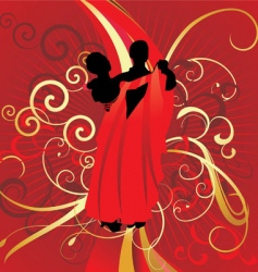 dancing couple on red backdrop vector image vector image