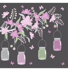Purple floral branch with jars vector