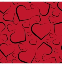 seamless pattern with hearts on red vector image