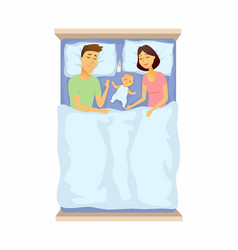 Young parents and baby sleeping - cartoon people vector