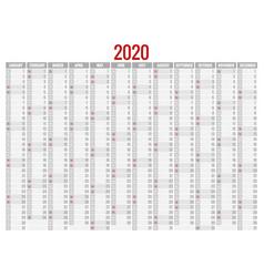 2020 year calendar holiday event planner week vector