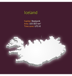3d map of iceland vector