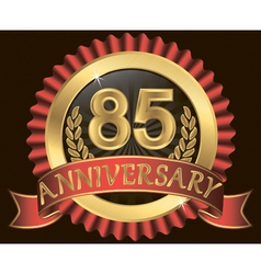 85 years anniversary golden label with ribbon vector image