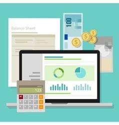 accounting software balance sheet money calculator vector image