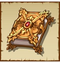 Ancient magic book in a gold cover with rugem vector