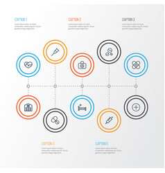 antibiotic outline icons set collection of vector image
