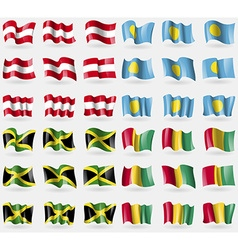 Austria Palau Jamaica Guinea Set of 36 flags of vector