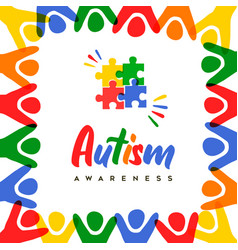 Autism awareness day colorful kid group card vector