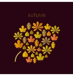 Autumn background with leaves icons vector image